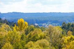 秋天横向 黄色树、蓝天和一个小屋在森林里 免版税库存照片