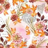秋天水彩花卉无缝的样式 库存图片