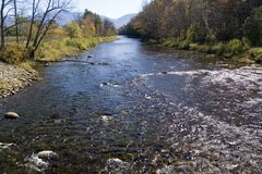 秋天汉普郡新的河 库存图片