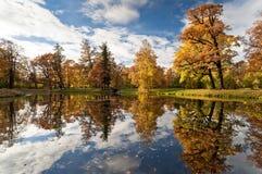 秋天池塘在公园 库存图片