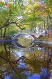 秋天池塘在游乐园 免版税库存图片