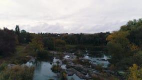 秋天河顶视图 影视素材