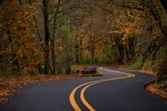 秋天沿哥伦比亚河峡谷历史的上流的弯曲道路 免版税库存图片