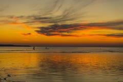 秋天波儿地克的夜间海运日落 库存图片