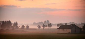 秋天波兰 秋天有雾的早晨 9月黎明在波兰 库存图片