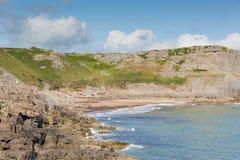 秋天海湾小海湾Gower半岛南威尔士英国近对罗西里海滩和Mewslade海湾 库存照片