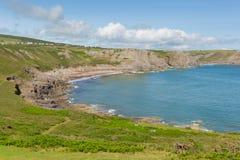 秋天海湾Gower半岛南威尔士英国近对罗西里海滩和Mewslade海湾 图库摄影