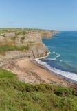 秋天海湾Gower半岛南威尔士英国近对罗西里海滩和Mewslade海湾 免版税库存照片