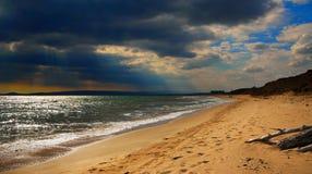 秋天海滩 黑海海岸,克里米亚 库存照片
