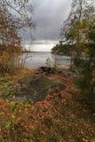 秋天湖岩石海岸  库存图片