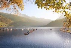 秋天湖放松瑞士 免版税库存图片