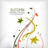 秋天漩涡、植物和叶子,最小 免版税图库摄影