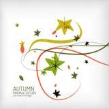 秋天漩涡、植物和叶子,最小 库存图片