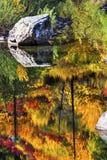 秋天火橙红上色反射Wenatchee河华盛顿 库存照片