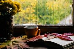 秋天爱对咖啡和对书 图库摄影