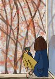 秋天甚而草绿色留下橙色平静的视图天气 女孩坐窗口 免版税库存图片