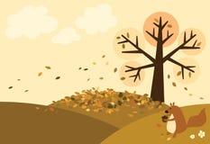 秋天甚而草绿色留下橙色平静的视图天气 库存图片