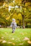 秋天男孩少许公园 免版税图库摄影