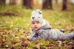 秋天男孩少许公园 库存照片