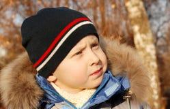 秋天男孩逗人喜爱的公园纵向s 库存照片