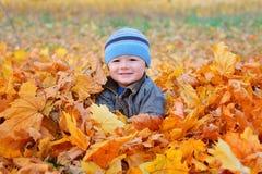 秋天男孩画象射击在庭院里 免版税图库摄影