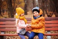 秋天画象愉快孩子使用室外在公园 库存照片