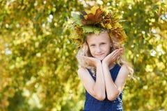 秋天画象 花圈 自然 女孩 孩子 叶子 库存图片