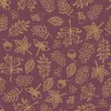 秋天留下无缝的传染媒介背景 在紫色背景的米黄绿色叶子 橡子,橡树,槭树样式 乱画 库存例证