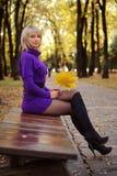 秋天白肤金发的礼服女孩风景性感的&# 免版税图库摄影