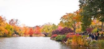 秋天的中央公园的池塘 免版税库存图片