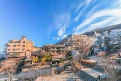 秋天的伊香保Onsen是位于复活节的一个温泉镇 免版税库存照片