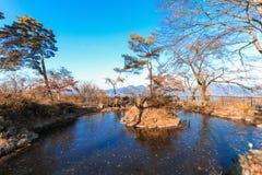 秋天的伊香保Onsen是位于复活节的一个温泉镇 免版税库存图片
