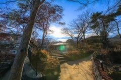 秋天的伊香保Onsen是位于复活节的一个温泉镇 免版税图库摄影