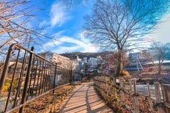 秋天的伊香保Onsen是位于复活节的一个温泉镇 库存图片