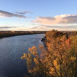 秋天的哈得逊河 库存照片