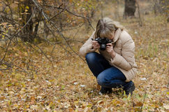 秋天的妇女摄影师做宏观射击 免版税库存照片