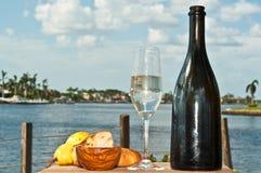 秋天的庆祝与一块变冷的玻璃和葡萄酒瓶的香槟 库存照片