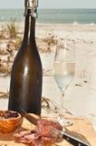 秋天的庆祝与一块变冷的玻璃和葡萄酒瓶的香槟 图库摄影