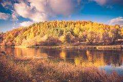秋天的河岸 库存照片