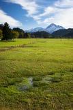 秋天的沼泽和草甸与天空 免版税库存图片