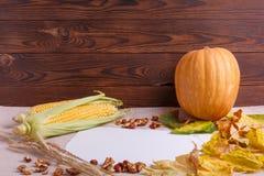 秋天的秋天概念下落的叶子在桌布的 免版税库存照片