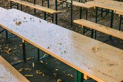 秋天的空的啤酒庭院没有客人由于多雨天气 空的桌和长凳 图库摄影