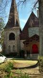 秋天的美妙的时代,宗教的教会主演 免版税库存照片