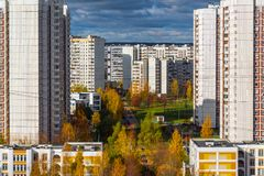 秋天的顶视图在Zelenograd区15,俄罗斯 库存照片