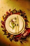 秋天秋天或感恩喜怒无常的桌布景 库存照片
