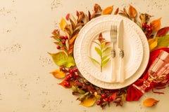 秋天秋天或感恩喜怒无常的桌布景 免版税库存照片