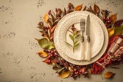 秋天秋天或感恩喜怒无常的桌布景 图库摄影