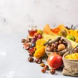 秋天秋天收获背景用南瓜苹果栗子玉米 图库摄影