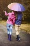 秋天秋天朋友生叶在结构天气木头之下 库存图片