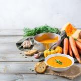 秋天秋天烤了橙色南瓜红萝卜汤用大蒜 库存照片